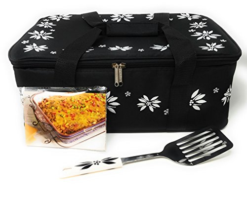 Temp-tations Insulated Tote Bag ONLY (NO DISH) for the 13 inchx9 inch 4 Quart Baker (not included), w/Server & Recipe Cards (Old World Black)