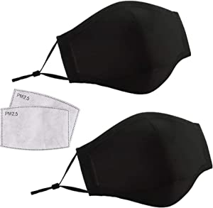 Dust Mask, 2PCS Washable Reusable Cotton Anti Pollution PM2.5 Mask Face Mouth Mask with 2pcs Activated Carbon Filter