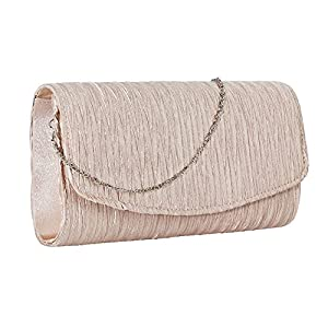 Stjubileens ST. Jubileens Women's Evening Clutch Bag Party Wedding Purse Satin Pleated Envelope Handbag (Champagne)