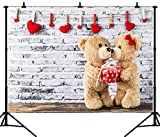 DePhoto 7X5FT(210X150CM) Valentine's Day Bears on The Wooden Floor Seamless Vinyl Photography Backdrop Photo Background Studio Prop PGT324A