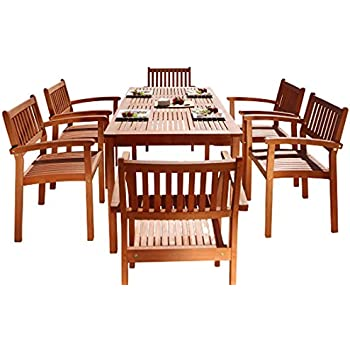 Malibu V98SET10 Eco Friendly 7 Piece Wood Outdoor Dining Set With Stacking Dining  Chairs