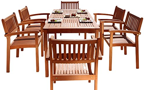 Malibu V98SET10 Eco-Friendly 7 Piece Wood Outdoor Dining Set with Stacking Dining Chairs (Outdoor Dining Furniture Online)