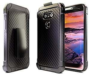 LG G5 Case, Nznd® [Shield Carbon Fiber] Hybrid Armor Stand with Holster Locking Belt Clip Combo Case for LG G5 - Black