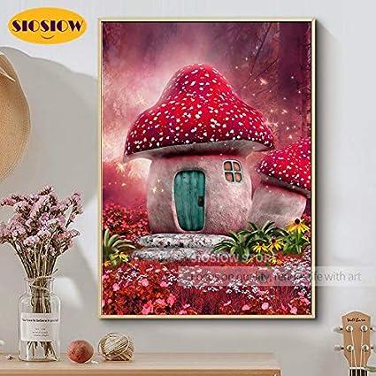 FHGFB 5D-DIY-Pintura de Diamantes de Dibujos Animados Seta casa fantasía Bordado de Diamantes Completo habitación de niños Regalo decoración del hogar sin Marco Cuadrado de Diamantes (40x50 cm)