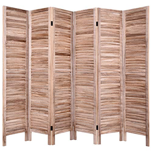 Giantex 6 Panel Folding Room Divider Screen, 6 Ft Tall Wood Oriential Freestanding Partition Privicy Room Divider for Home, Office, Restaurant, Bedroom (Brown) (Screen Dividers Wooden)