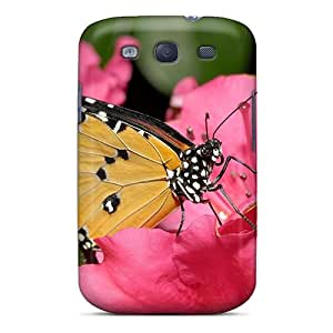 New Fashion Premium Tpu Case Cover For Galaxy S3 - Butterfly On A Pink Flower