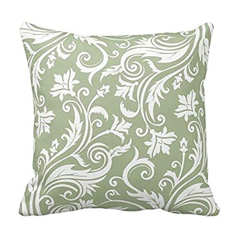 KENETOINA Sage Green and White Floral Pattern Throw Pillow ...