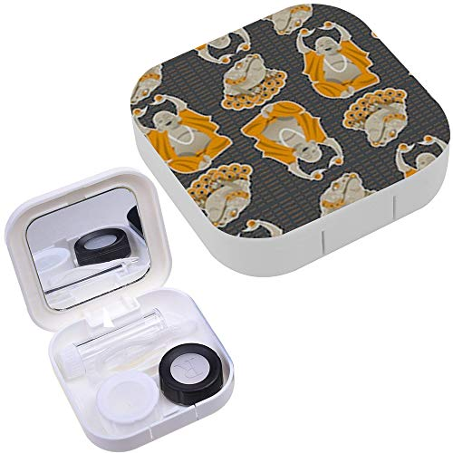 (Portable Contact Lens Case Box Travel Kit Mirror + Bottle + Tweezers Container Holder [ Feng Shui Talismans Money Frog ])