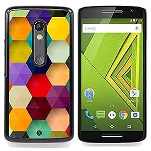 - polygon hexagon purple pastel mint - - Modelo de la piel protectora de la cubierta del caso FOR Motorola Verizon DROID MAXX 2 / Moto X Play RetroCandy