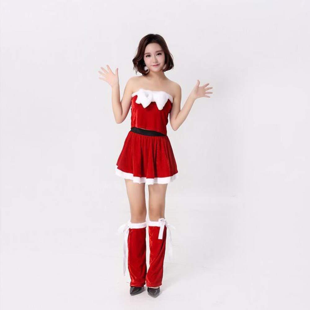 CVCCV Weihnachten Kostüme Tube Top Weihnachtskleider Weihnachtsfeier Jährliches Treffen Bühne Kostüme Fasermaterial Damenbekleidung Alle Größen (Rot)