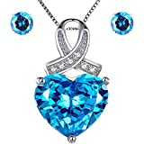 Mabella 925 Sterling Silver Jewelry Sets 7 CTW Simulated Blue Topaz Pendant Earrings Set, Gifts for Women