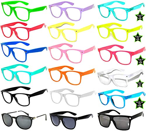 Retro 80's Vintage Clear Lens Sunglasses Many Colors Frame - 18 Pairs OWL by OWL