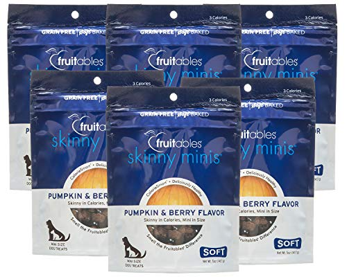Fruitables Skinny Minis Pumpkin & Berry Low Calorie Soft & Chewy Dog Treats (6 Pack)