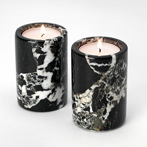 Fossil Gift Shop Set of 2 Black Marble Cylinder Tea Light Candle Holders - Tea Lights Included!