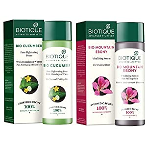 Biotique Bio Cucumber Pore Tightening Toner, 120ml And Biotique Bio Mountain Ebony Vitalizing Serum For Falling Hair…