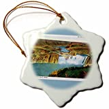 "3dRose orn_169874_1 On the Oregon Trail Shoshone Falls Idaho Postcard Reproduction Snowflake Porcelain Ornament, 3"""