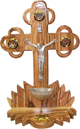 Table Olive Wood Cross/Crucifix with Holy Water Font - with Samples from The Holy Land (22 cm or 9 inches in Height)