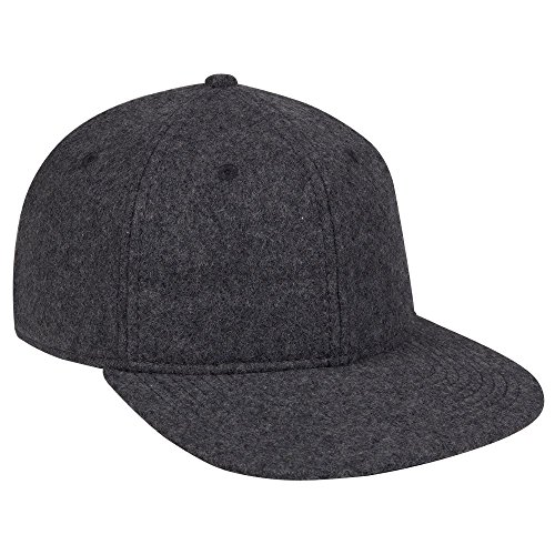 (OTTO Melton Wool Blend Twill Square Flat Visor 6 Panel Pro Style Baseball Cap - Heath. Black)