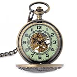Luminous Dial For Dark Area Mens Bronze Mechanical Hand Winding Pocket Watch