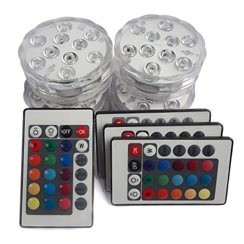 Creatrek Submersible RGB Changing LED Tea Light, Multicolor & Waterproof Vase Based Floral Lamp + Remote Control (Pack of 4)