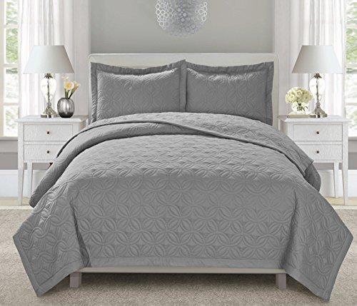 3 Piece Teresa Embroidered Bedspread Set Queen90 X96 King104 X96 Size Queen Gray Bedroom