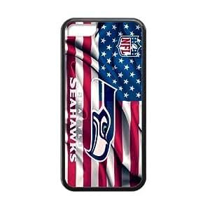 RAROFU American football Seattle Seahawks Custom Cases for iPhone 5C TPU (Laser Technology)