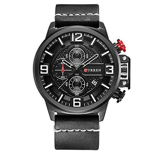 New CURREN Sport Mens Watch Top Brand Leather Band Chronograph Quartz Wrist Watches 8278