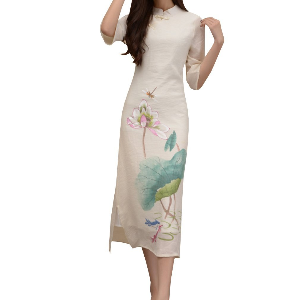 WDPL Women's Tea Length Cotton Cheongsam Qipao Chinese Traditional Dress 1403 Large Beige