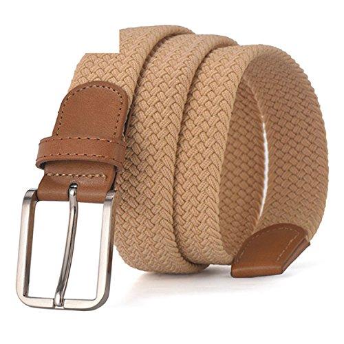Men Women's Casual Knitted Belt Woven Canvas Elastic Stretch Belt Belt Metal Buckle Black MQ003 camel (Wedge Tamer)
