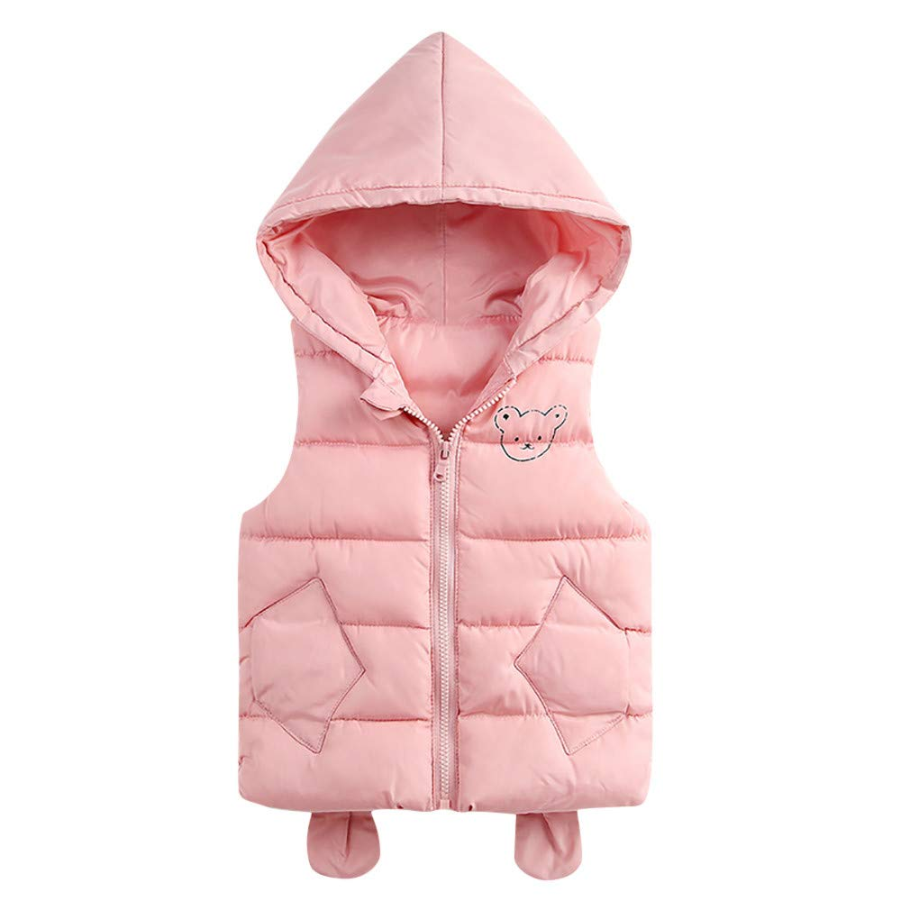 Kobay Kleinkind Baby M/ädchen Jungen /Ärmelloses Cartoon Solid Winter Warme Dicke Kapuze Weste Outwear