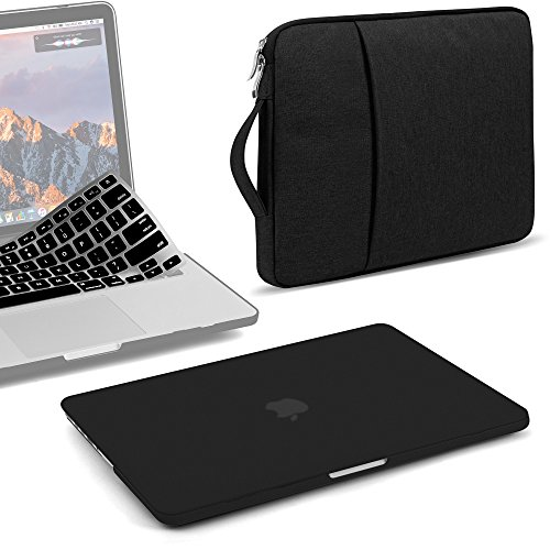 3 Button Notebook - GMYLE 3 in 1 Bundle Black Set Matte Plastic Hard Case for Old MacBook Retina Display Pro 13 Inch NO CD-ROM (A1502/A1425,Version end 2012-15) & Water Repellent Laptop Sleeve with Silicon Keyboard Skin