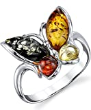 Sterling Silver Baltic Amber Multi Color Butterfly Ring, Cherry Honey Cognac and Olive Colors Sizes 5-9