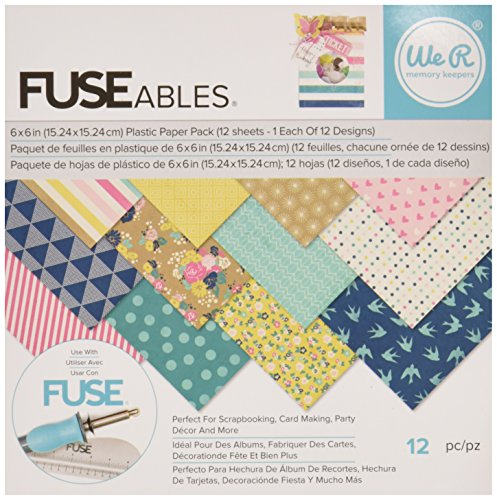 We R Memory Keepers 660861 12 Sheet Fuseables Patterned Paper Pack, 6 x 6
