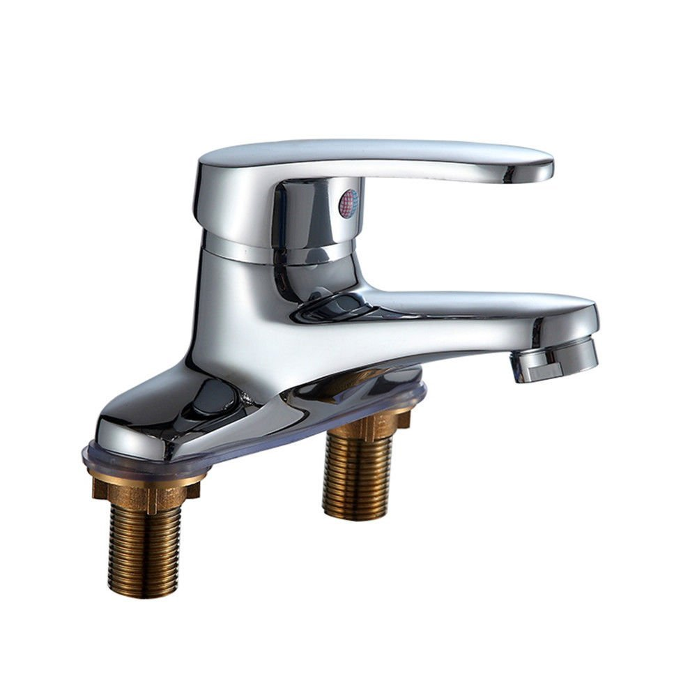 SADASD Modern Bathroom Basin Faucet Copper Double Hole Sitting Washbasin Sink Taps Ceramic Valve Hot and Cold Mixer Tap With G1 2 Hose