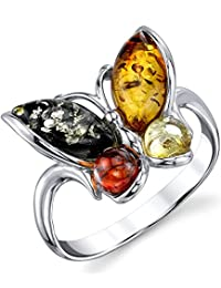 Metal Masters Co.® Sterling Silver Baltic Amber Multi Color Butterfly Ring, Cherry Honey Cognac and Olive Colors Sizes 5-9