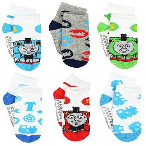 Thomas and Friends Boys 6 pack Gripper Socks (2T-4T (Shoe: 4-7), White Thomas Friends)