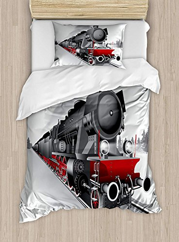 Steam Engine Duvet Cover Set Twin Size Locomotive Red Black Train On Steel Railway Track Travel Adventure Graphic Print,2 Piece Bedding Set With With 1 Pillowcase For Kids Bedding,Red Grey