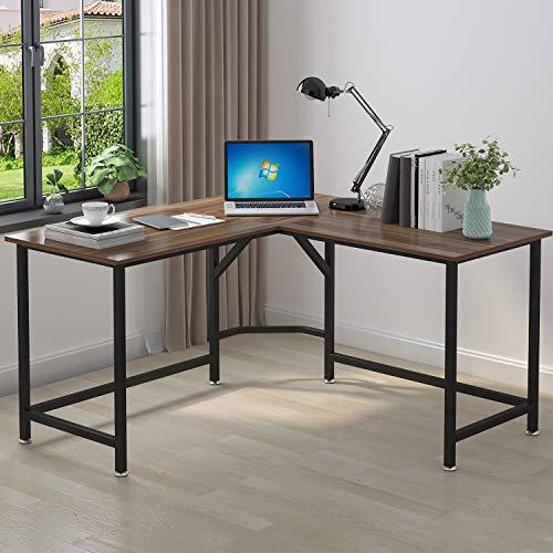 ELEGANT Computer Desk 55 x 55 with 24 Deep L-Shaped Desk Corner Workstation Oak Brown