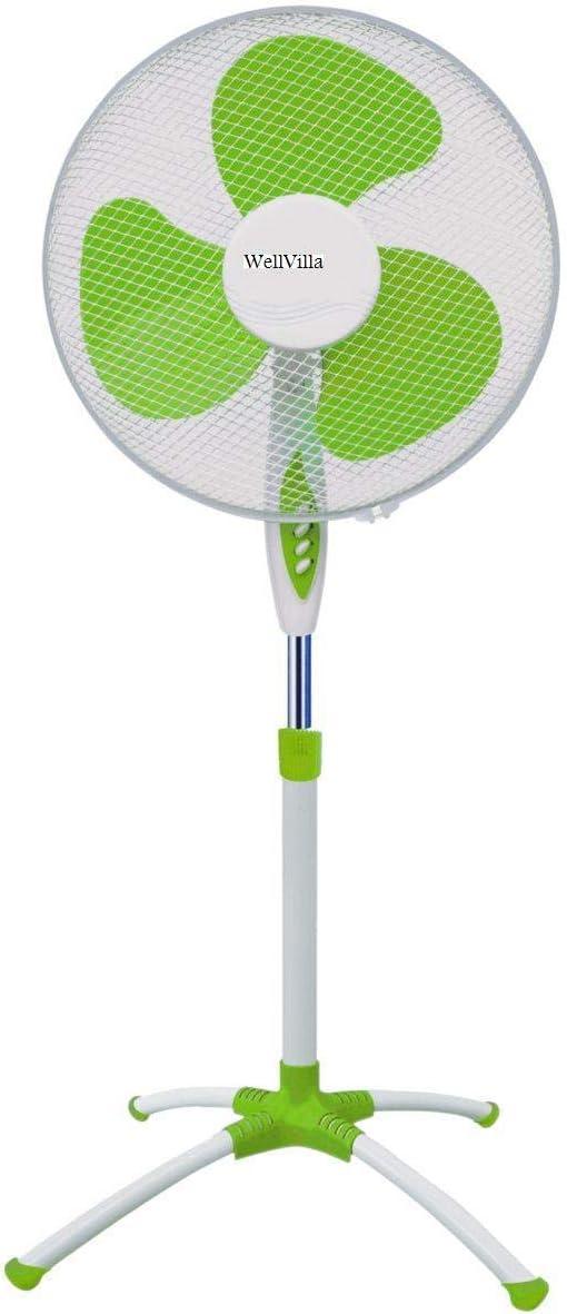 WELLVILLA - Ventilador de pie, 3 velocidades, oscilante, Master diámetro de 40 mm, potencia de 55 W, color blanco/verde