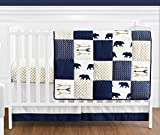 Best Sweet Jojo Designs Baby Crib Sets - Navy Blue, Gold, and White Patchwork Big Bear Review