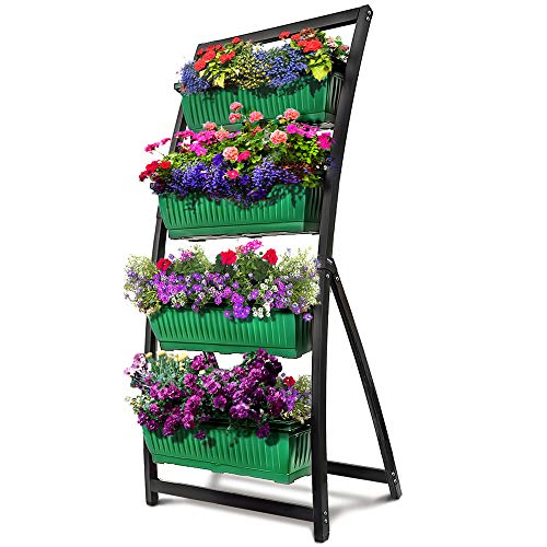 (6-Ft Raised Garden Bed - Vertical Garden Freestanding Elevated Planter with 4 Container Boxes - Good for Patio or Balcony Indoor and Outdoor - Cascading Water Drainage (1-Pack/Forest Green))