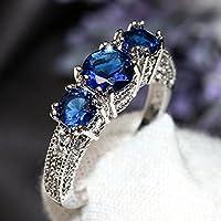 Aisamaisara 925 Sterling Silver Three Stone Ruby Emerald Sapphire Ring Wedding Women Jewelry Blue (6)