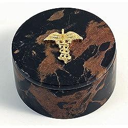 Desk Accessories - Medical Caduceus Marble Desk Caddy - Doctor Gifts - Medical Office Desk Accessories