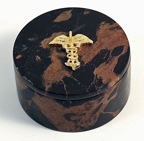 (Desk Accessories - Medical Caduceus Marble Desk Caddy - Doctor Gifts - Medical Office Desk Accessories )