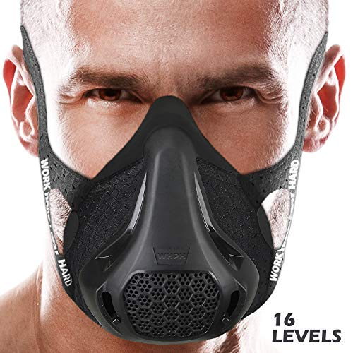 Workout Mask | Training Mask High Altitude Running Peak Resistance Breathing Oxygen Sport Fitness Cardio Endurance Gym Jogging Exercise Men Women Adult Elevation Simulation HIIT Trainer (Black)