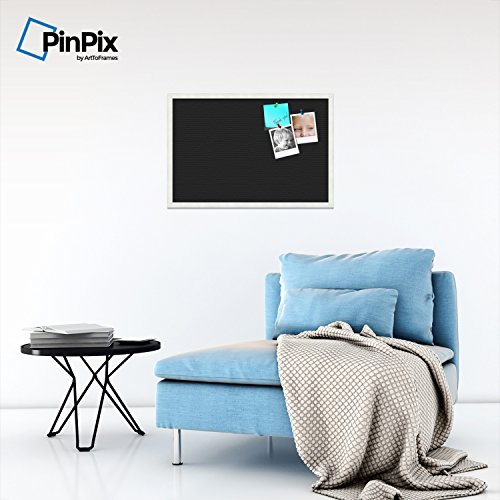 PinPix custom printed pin cork bulletin board made from canvas, Classic Black Pattern 30 x 20 Inches (Completed Size) and framed in Satin White Frame (PinPix-622) by PinPix (Image #3)