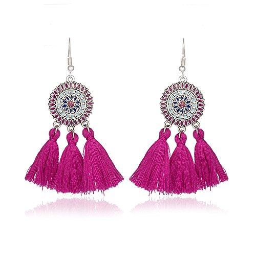 925 Sterling Silver Earrings - Long Thread Tassel Dangle Earrings for Women Girls -