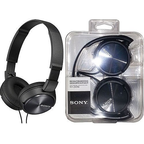 Sony MDR ZX310 BLACK Headphones Lightweight Adjustable