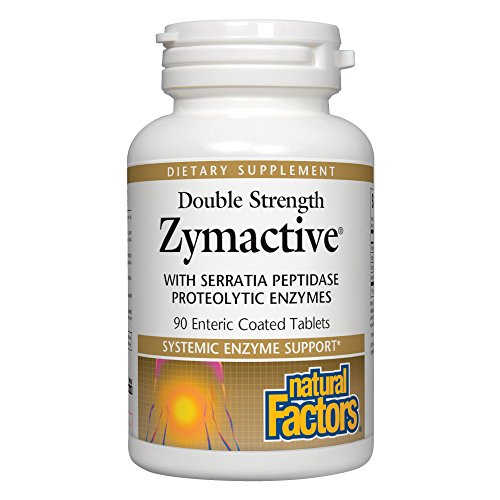 Natural Factors - Zymactive Proteolytic Enzyme Double Strength, Systemic Enzyme Support, 90 Enteric Coated Tablets (Proteolytic 90 Enzymes Tablets)