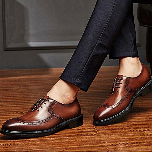 Chaussures Oxford Brown De MERRYHE Hommes Wedding Mariage Formel Cadeaux En Up Business Real Carve Pour Parti Soirée Derby Chaussures De Mens Lace Brogues Les Travail Cuir HH8rq4wE